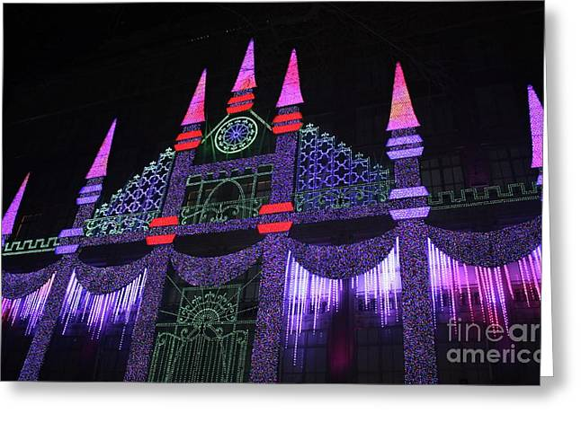 Saks Fifth Avenue Christmas Light Show Greeting Card by John Telfer