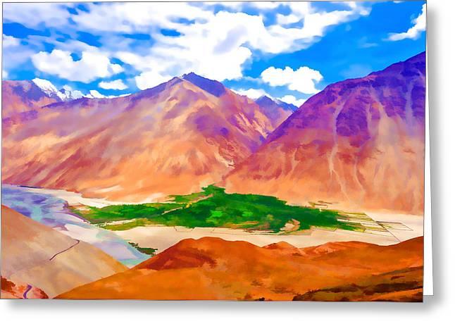Sakti Village In Ladakh 2 Greeting Card by Lanjee Chee