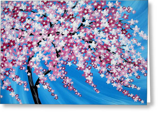 Sakura Cascade Greeting Card by Cathy Jacobs