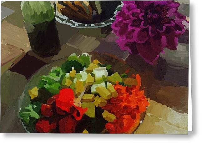 Salad And Dressing With Squash And Purple Dahlia Greeting Card