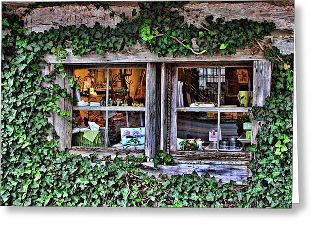 Cabin Window Greeting Cards - Salado Log Cabin Window Greeting Card by Linda Phelps