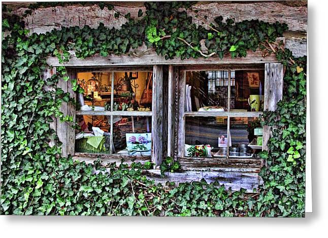 Salado Log Cabin Window Greeting Card by Linda Phelps