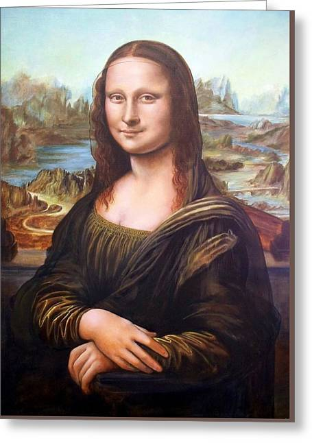 Mona Lisa After Leonardo Greeting Card by RB McGrath