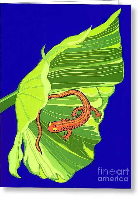 Salamander Greeting Card by Lucyna A M Green