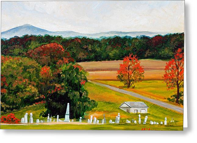 Salem Cemetery In October Greeting Card by Hilary England