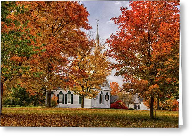 Greeting Card featuring the photograph Salem Church In Autumn by Jeff Folger