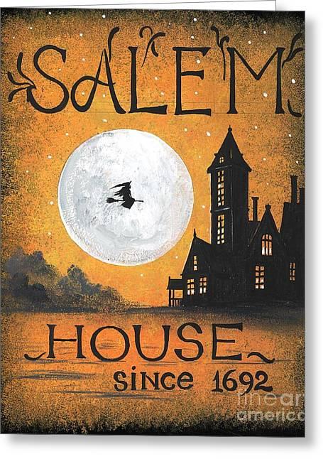 Salem House Greeting Card by Margaryta Yermolayeva