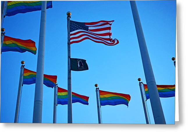 Salem Ma Flags Gay Pride Greeting Card by Toby McGuire
