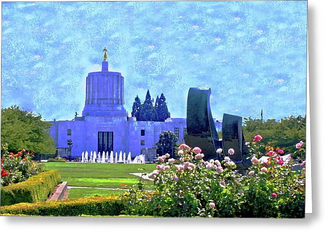 Salem Oregon State Capital Greeting Card by Margaret Hood