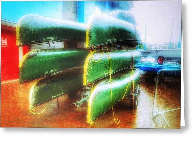 Greeting Card featuring the photograph Salford Quays Boats by Isabella F Abbie Shores FRSA