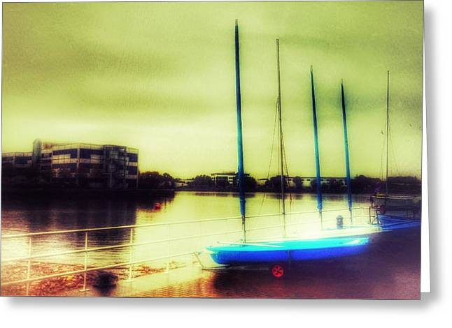 Greeting Card featuring the photograph Salford Quays Boats Waiting by Isabella F Abbie Shores FRSA