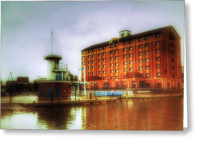 Greeting Card featuring the photograph Salford Quays Edge by Isabella F Abbie Shores FRSA