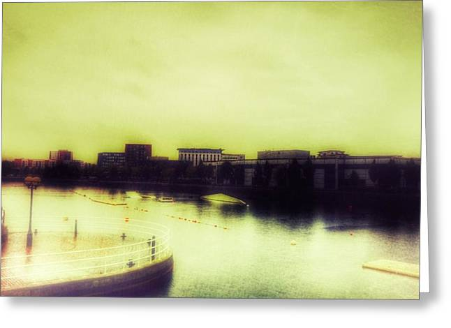 Greeting Card featuring the photograph Salford Quays Promenade by Isabella F Abbie Shores FRSA