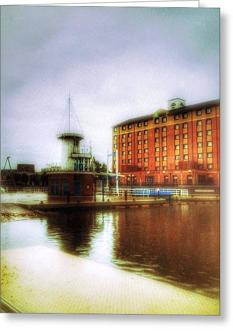 Greeting Card featuring the photograph Salford Quays Red Brick Building by Isabella F Abbie Shores FRSA