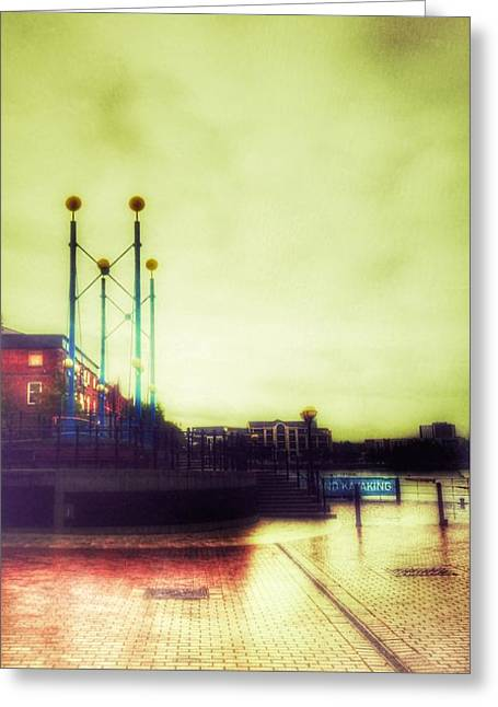 Greeting Card featuring the photograph Salford Quays Walkway by Isabella F Abbie Shores FRSA