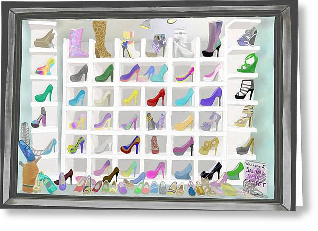 Greeting Card featuring the painting Salina's Shoe Closet by Melinda Ledsome