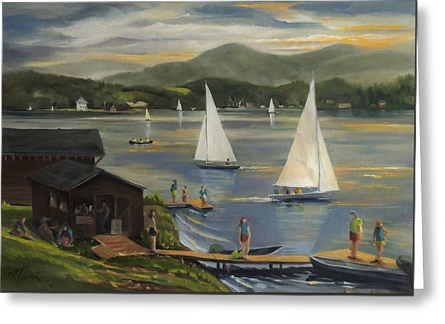 Sailing At Lake Morey Vermont Greeting Card by Nancy Griswold