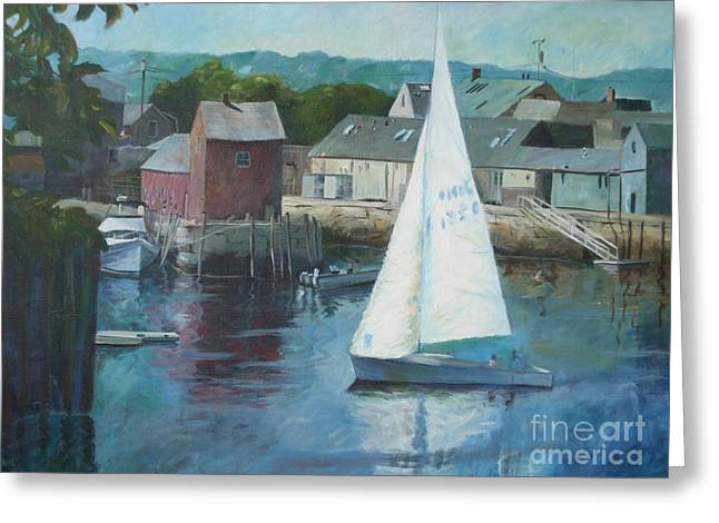 Saling In Rockport Ma Greeting Card