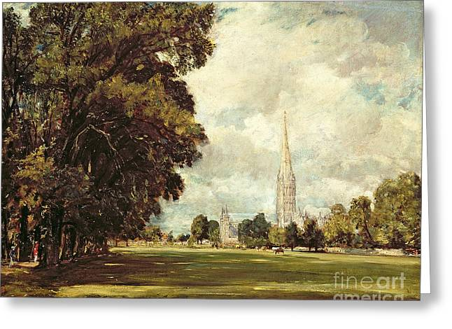 1820 Greeting Cards - Salisbury Cathedral from Lower Marsh Close Greeting Card by John Constable