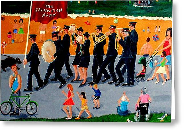 """salvation Army"" Greeting Cards - Sally Army Greeting Card by Sandy Wager"