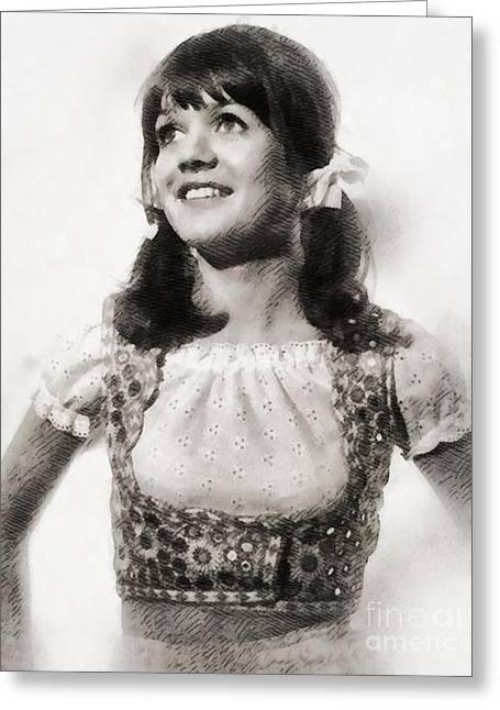 Sally Geeson, Vintage British Actress By John Springfield Greeting Card by John Springfield
