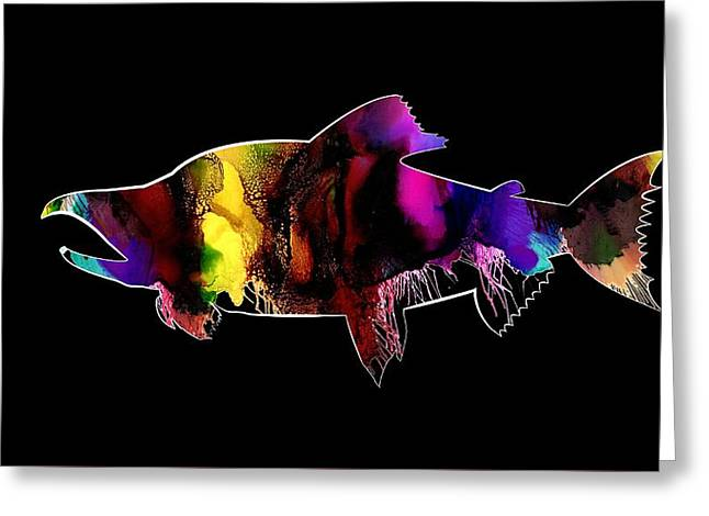 Salmon Abstract Art Greeting Card
