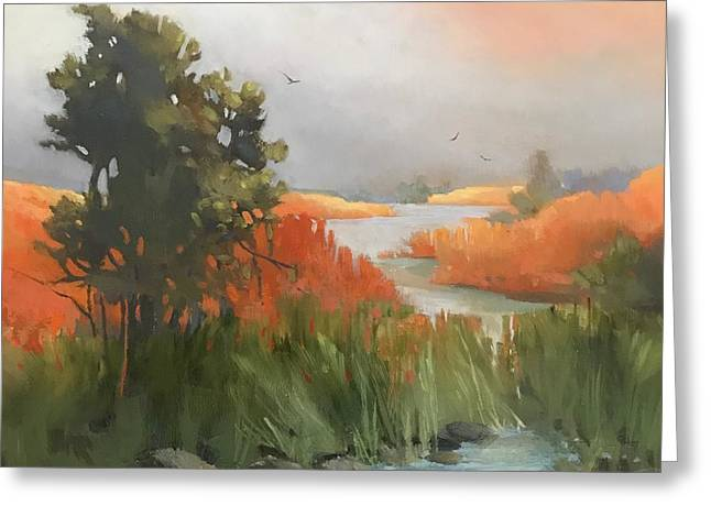 Greeting Card featuring the painting Salmon Creek by Helen Harris