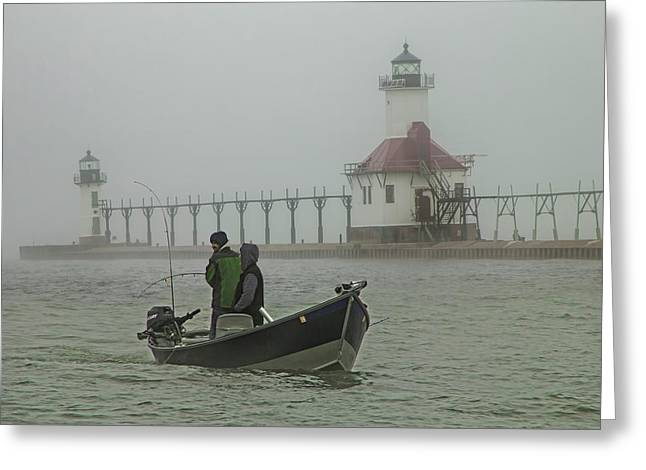 Salmon Fishermen In The Fog By The St. Joseph Lighthouse Greeting Card by Randall Nyhof
