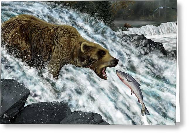 Salmon Fishing Greeting Card