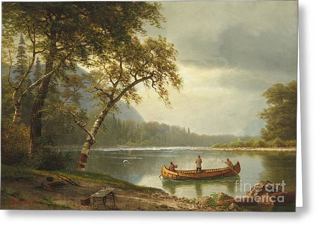 Calm Waters Paintings Greeting Cards - Salmon fishing on the Caspapediac River Greeting Card by Albert Bierstadt