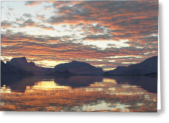 Greeting Card featuring the digital art Salmon Lake Sunset by Mark Greenberg