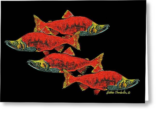 Salmon Season Greeting Card by Debbie Chamberlin