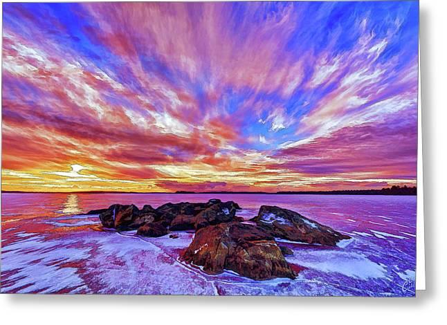 Salmon Sunrise Greeting Card by ABeautifulSky Photography