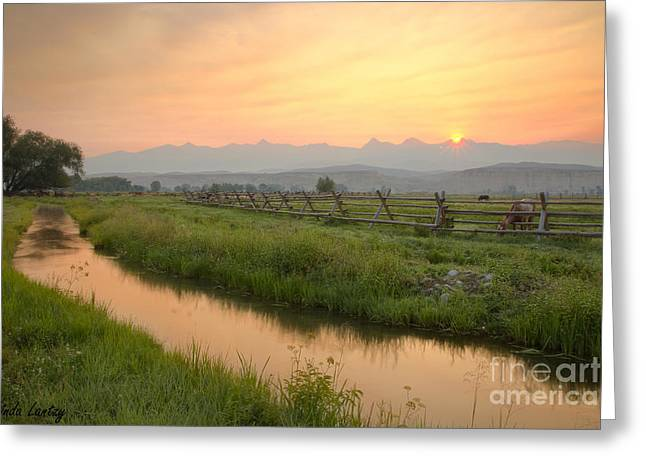 Salmon Sunrise Greeting Card by Idaho Scenic Images Linda Lantzy