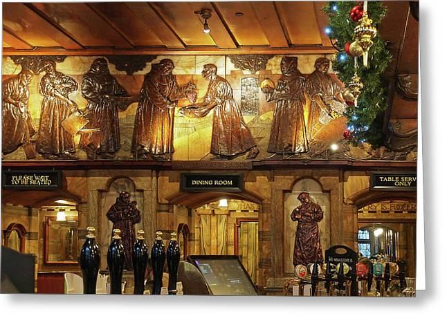 Saloon Bar At Christmas - Black Friar Pub London Greeting Card by Gill Billington
