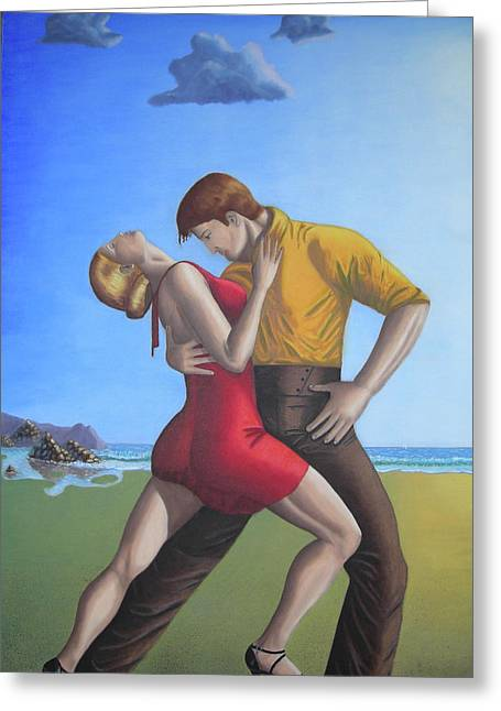 Salsa Dancing Portrait Painting Art   Greeting Card by Luigi Carlo