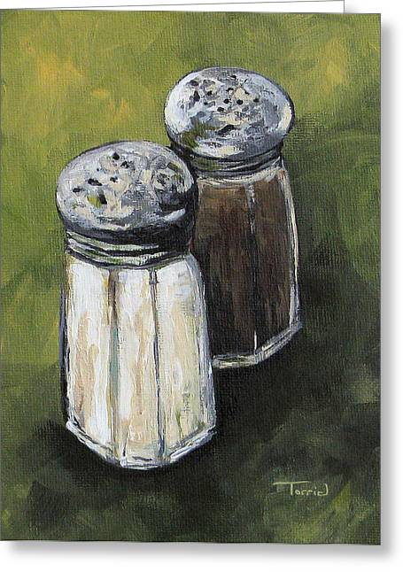 Salt And Pepper On Green Greeting Card by Torrie Smiley