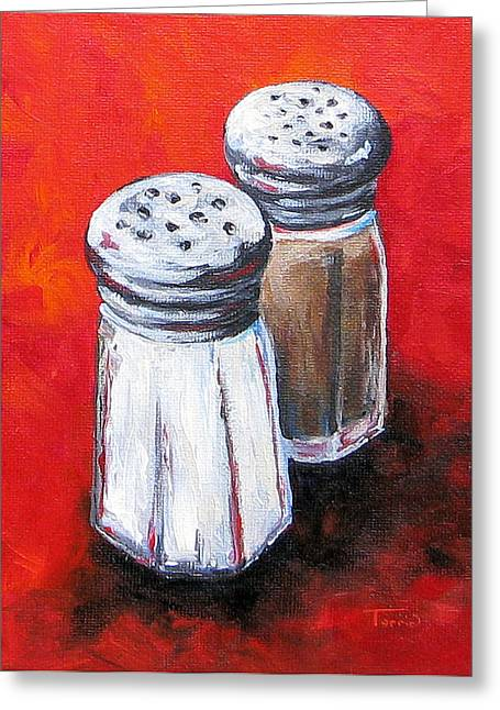 Salt And Pepper On Red Greeting Card by Torrie Smiley