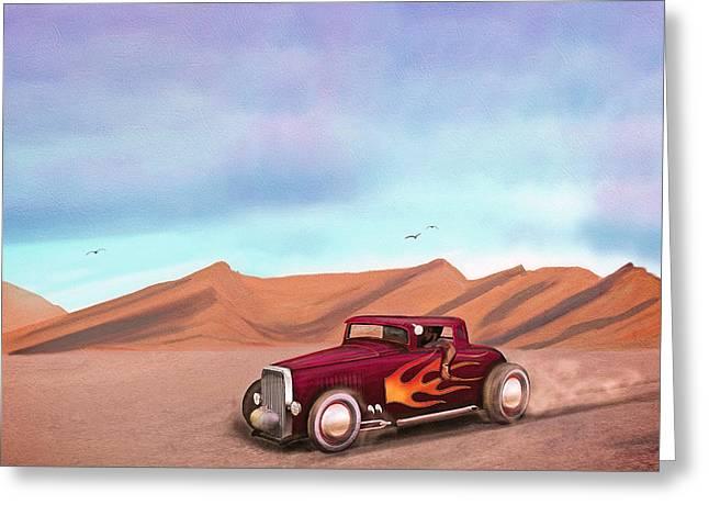 Salt Flats Racer Greeting Card by Ken Morris