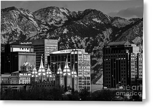 Salt Lake City Downtown Winter Skyline - Black And White Greeting Card by Gary Whitton