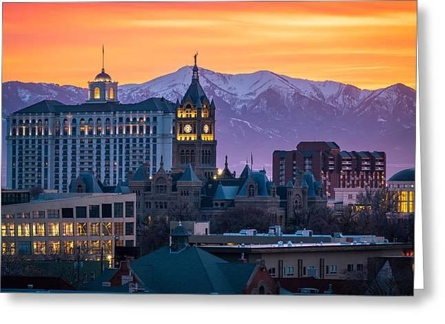 Salt Lake City Hall At Sunset Greeting Card