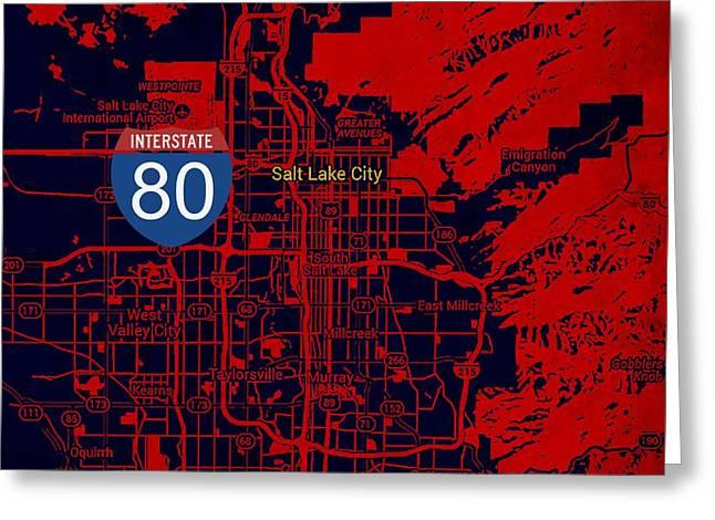 Salt Lake City Map, Nterstate 80 Greeting Card by Pablo Franchi