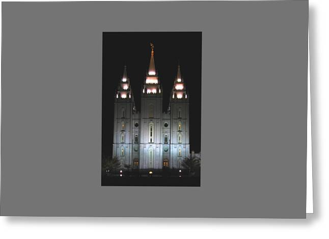 Salt Lake City Temple At Night Greeting Card by Frederick Holiday