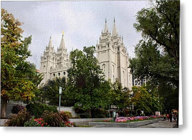 Salt Lake City Temple L G Greeting Card by Lynda Clark