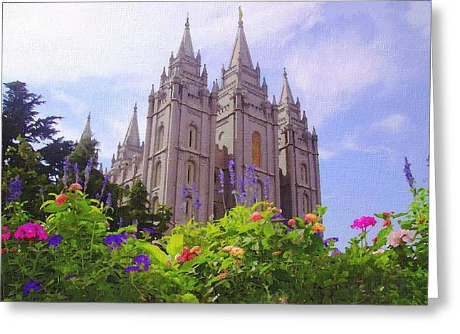 Salt Lake City Temple Lg Greeting Card by Lynda Clark