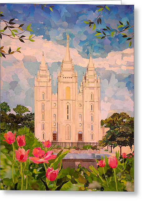 Salt Lake City Temple Greeting Card by Robin Birrell