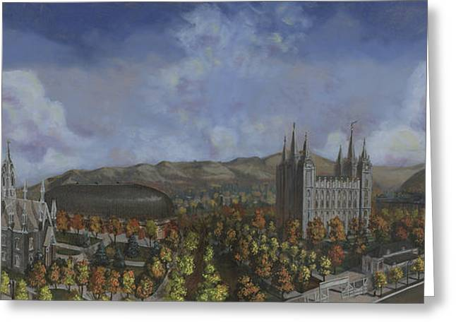 Salt Lake City Temple Square Nineteen Twelve  Greeting Card by Jeff Brimley