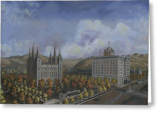 Salt Lake City Temple Square Nineteen Twelve Right Panel Greeting Card