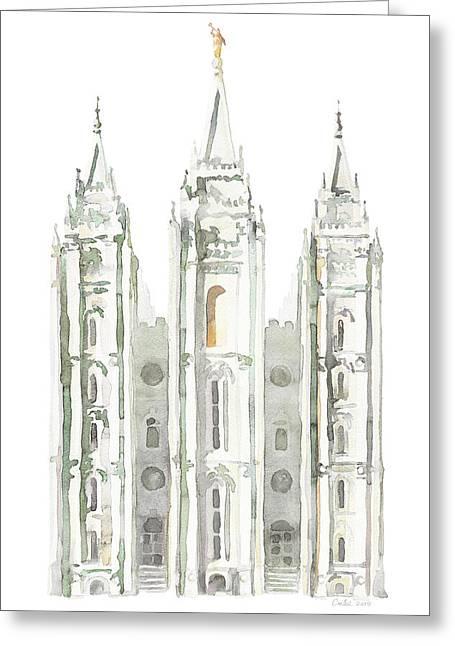 Salt Lake City Temple Watercolor, Gray Greeting Card by Tausha Coates