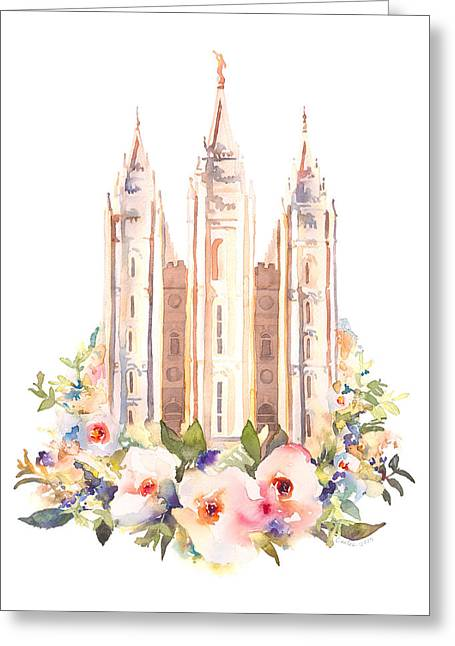 Salt Lake City Temple With Flowers Greeting Card
